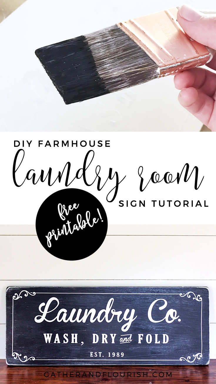 Farmhouse Laundry Room Sign Tutorial and FREE SVG cut file | ORC Week 4