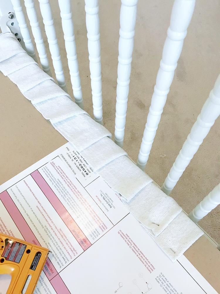 DIY No Sew Drop Cloth Crib Skirt Tutorial! Easy DIY crib skirt, No Sew Crib Skirt, Drop Cloth Bed Skirt, Neutral Nursery, Farmhouse Nursery