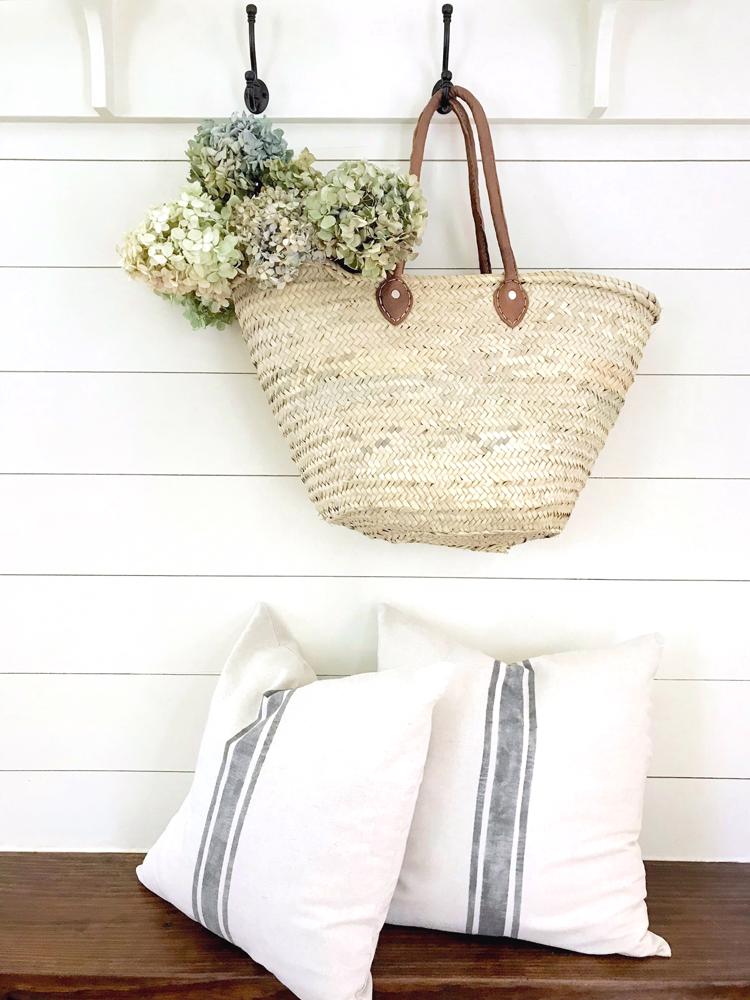 DIY No Sew Grain Sack Pillow Cover